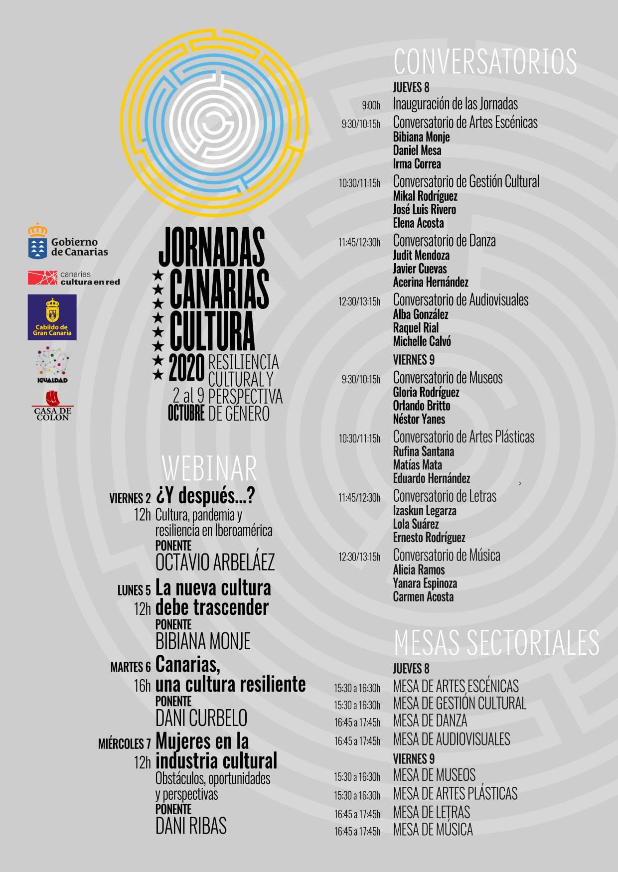 «Canarias Cultura 2020»: jornadas sobre Resiliencia Cultural y Perspectivas de Género, presencial y en streaming // CanariasCreativa.com