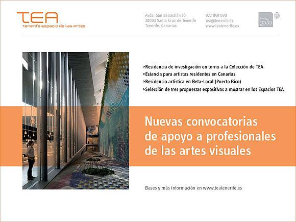 El Cabildo de Tenerife lanza a través de TEA Tenerife Espacio de las Artes cuatro convocatorias que impulsan la creación y la investigación // CanariasCreativa.com