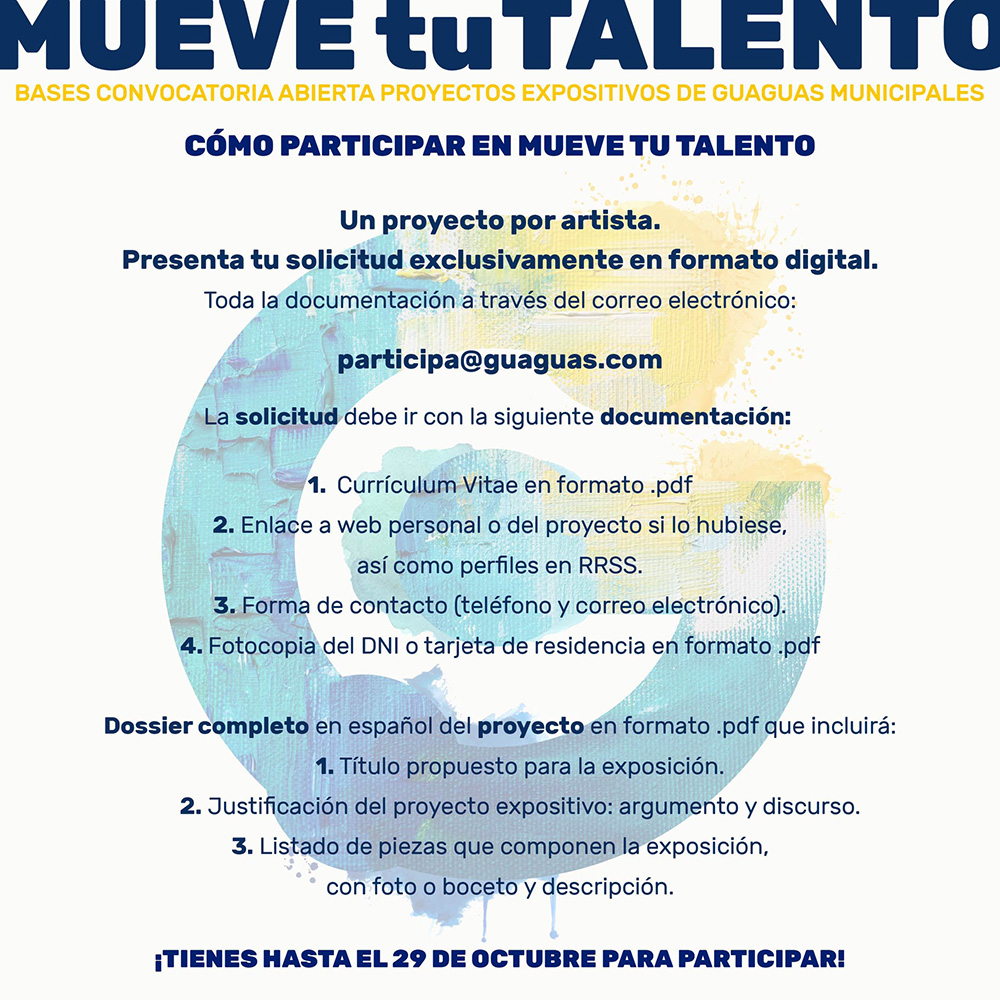 Guaguas Municipales invita a los artistas contemporáneos a participar en la edición 2021 del proyecto Mueve Tu Talento