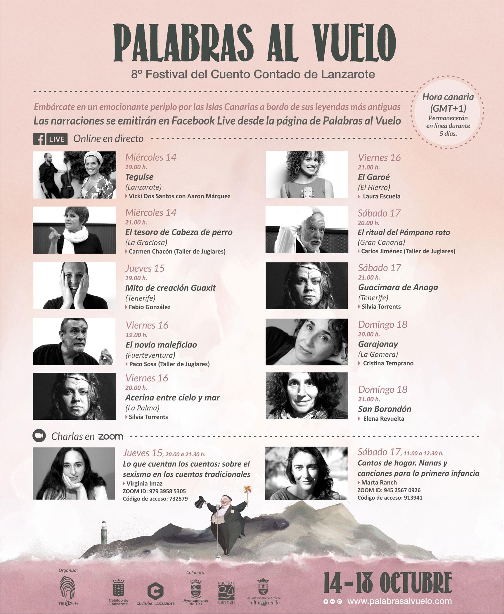 El Festival del Cuento Contado de Lanzarote «Palabras al Vuelo» se celebrará online, proponiendo un atractivo