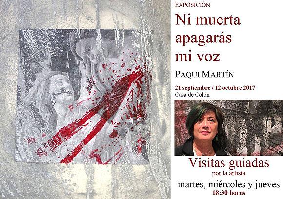 Paqui Martín pone imagen a los microrrelatos de 65 autoras canarias contra la violencia de género, en la Casa de Colón // CanariasCreativa.com