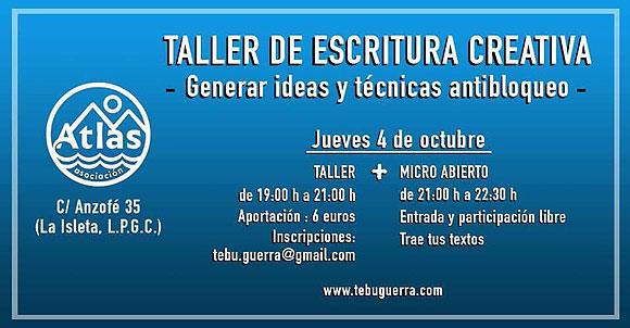 Taller de escritura creativa con Tebu Guerra en Atlas Gran Canaria // CanariasCreativa.com